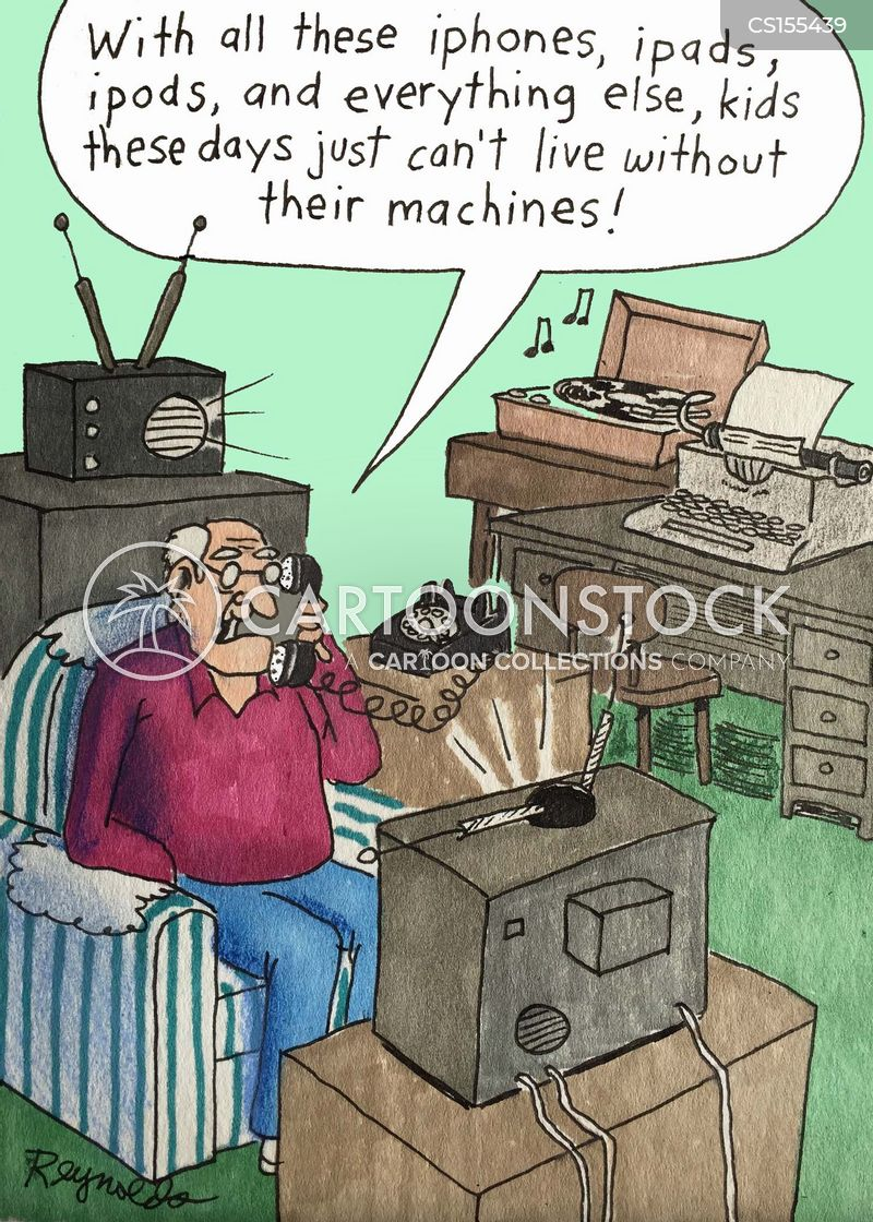 technological dependency cartoon