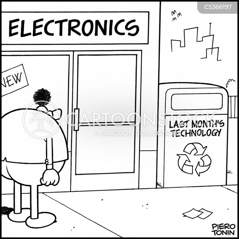 electronics shop cartoons and comics