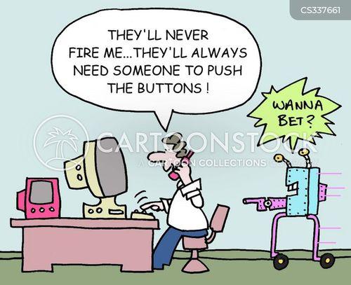 button pushing cartoon
