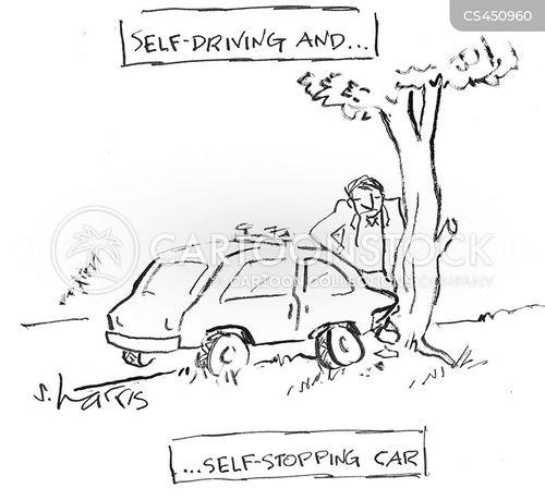 self-driving cars cartoon