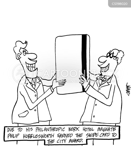swipe cards cartoon