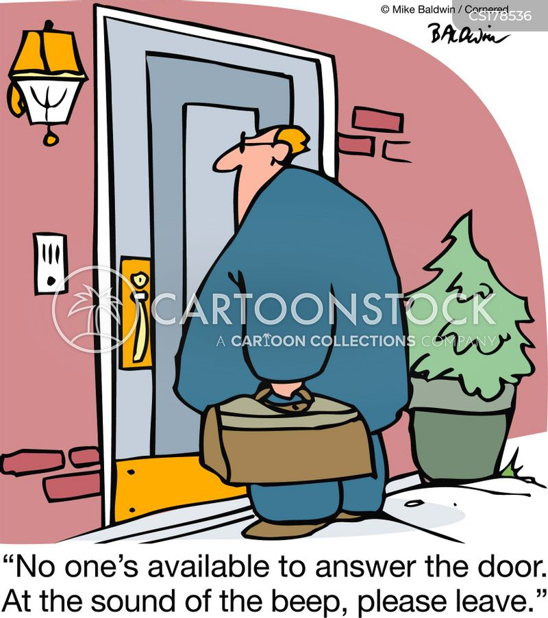 answering the door cartoon