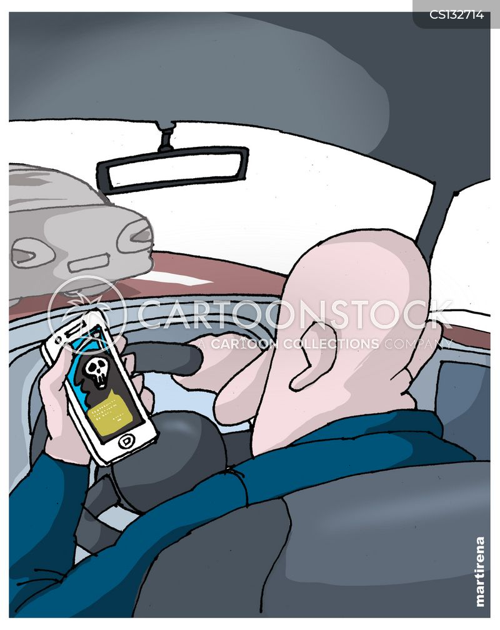 distracted driving cartoon
