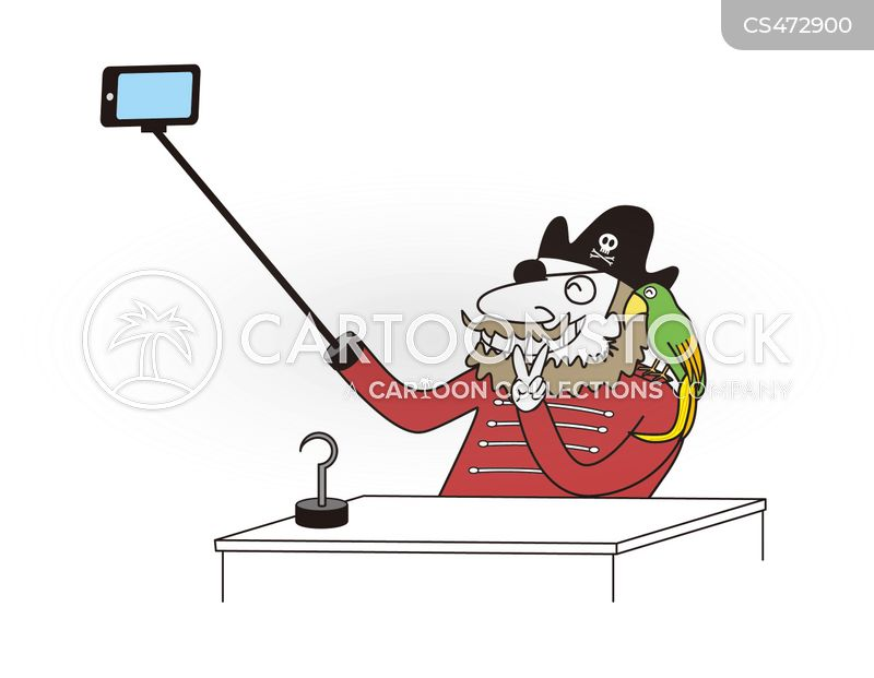selfie-stick cartoon