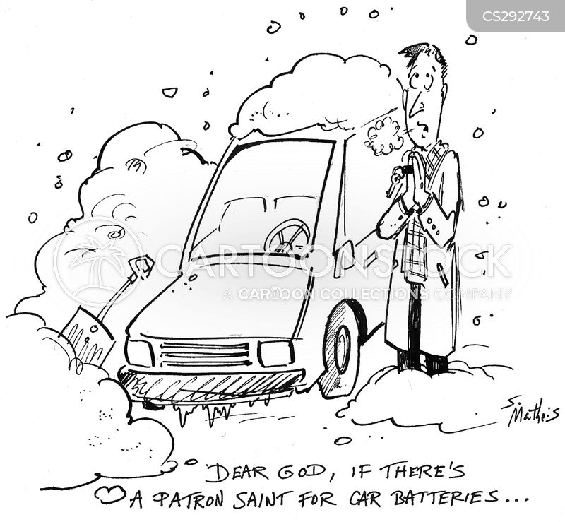 car battery cartoon