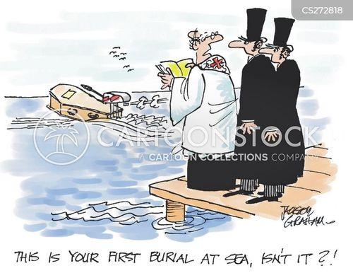 sea burial cartoon