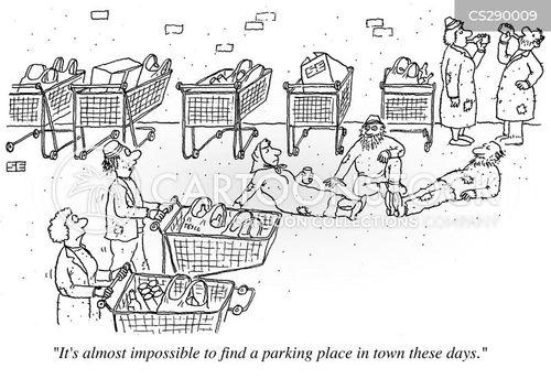 supermarket trolleys cartoon