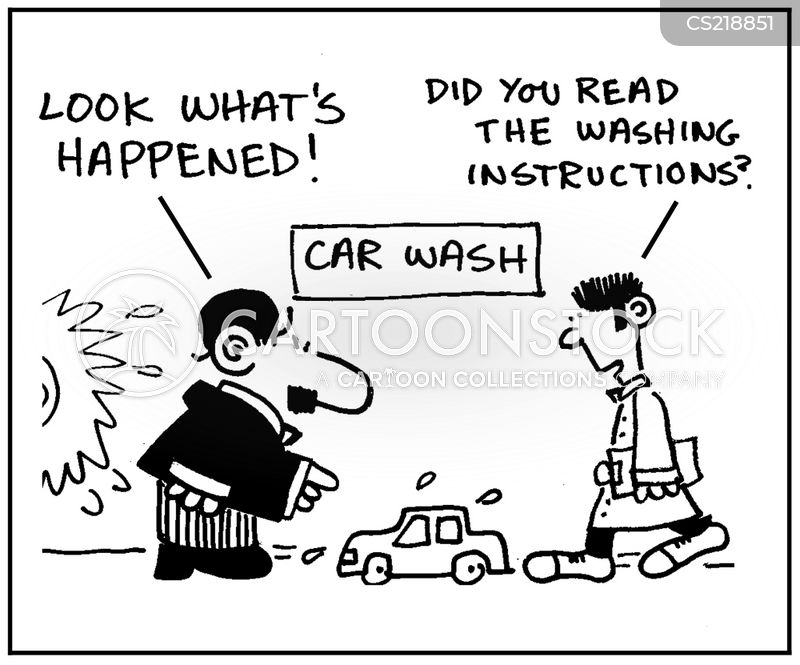 washing instruction cartoon