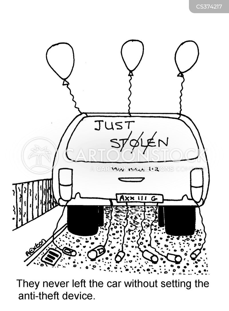 car crime cartoon
