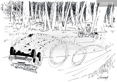 car rally cartoon