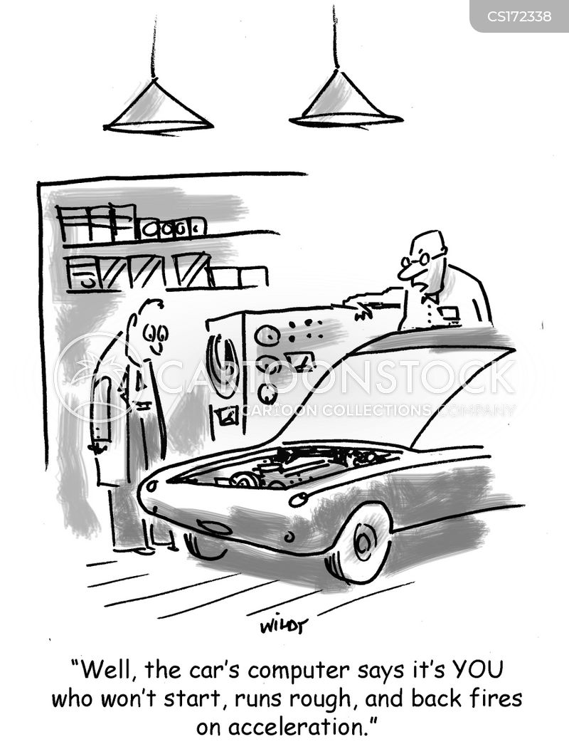 fixing cars cartoon