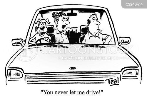 woman driver cartoon