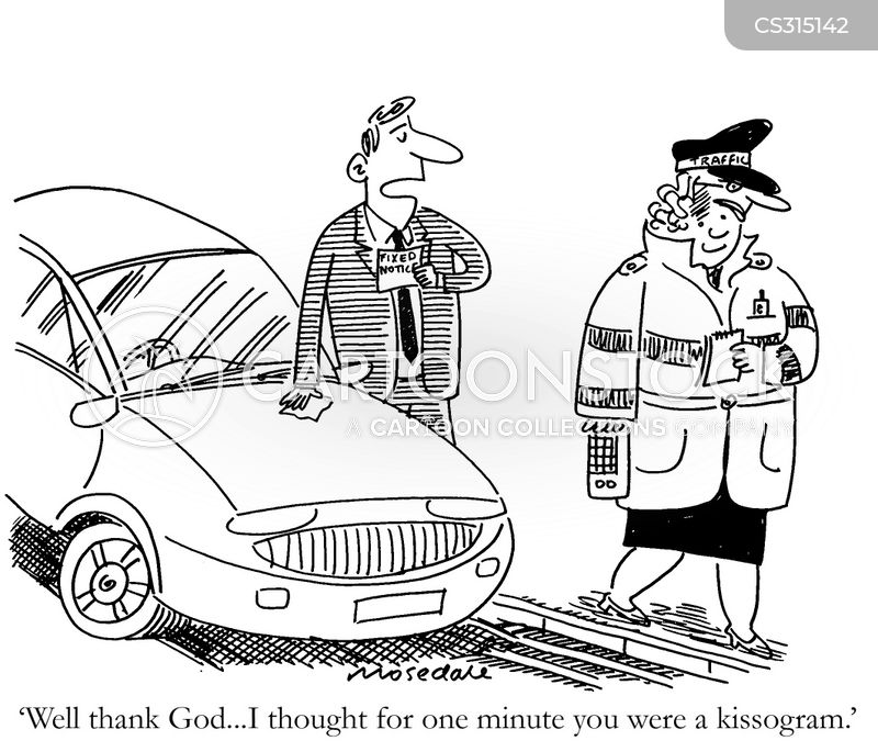 female parking warden cartoon