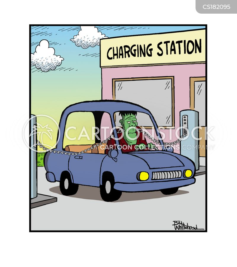electric cars cartoon