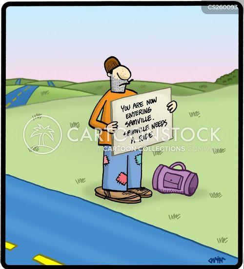 hitch hike cartoon