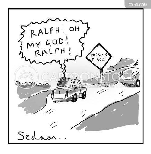 over-taking cartoon