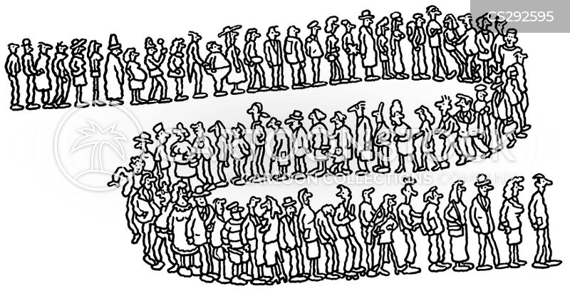 queued cartoon
