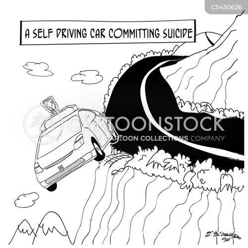 self driving cars cartoon