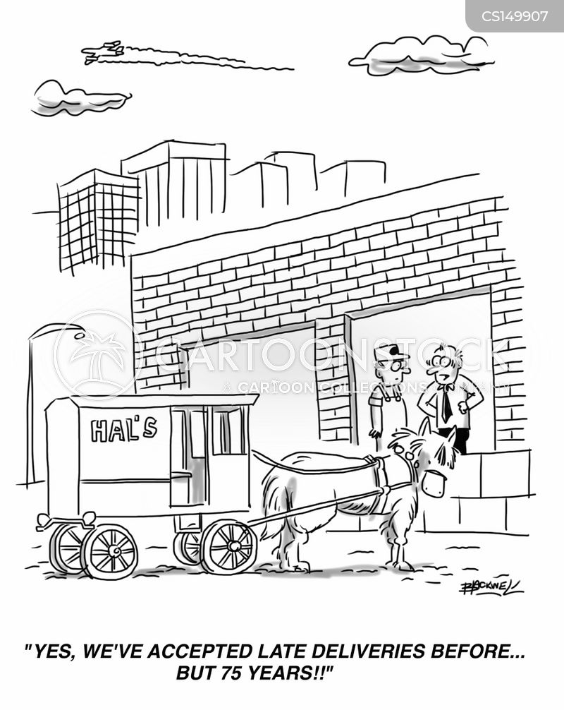 horse & cart cartoon