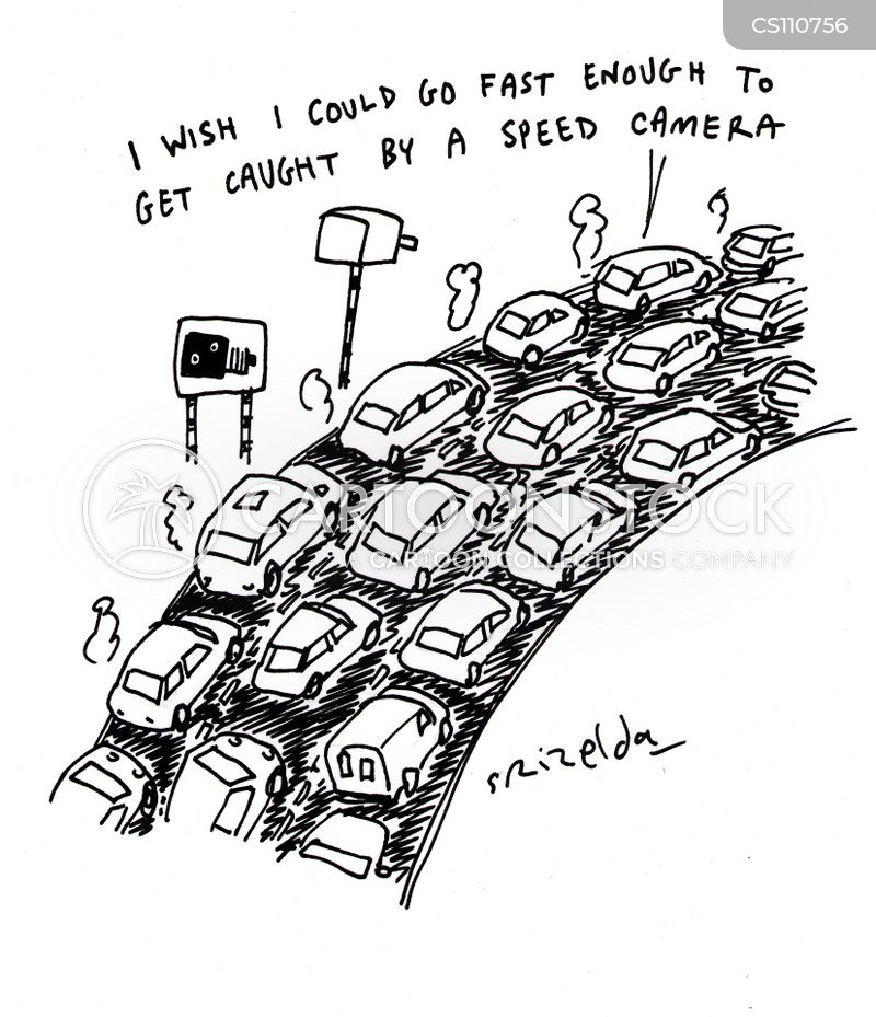 Gridlocked on fast car illustration