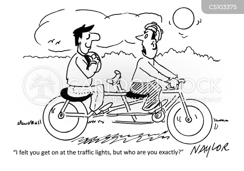 tandem bike cartoon