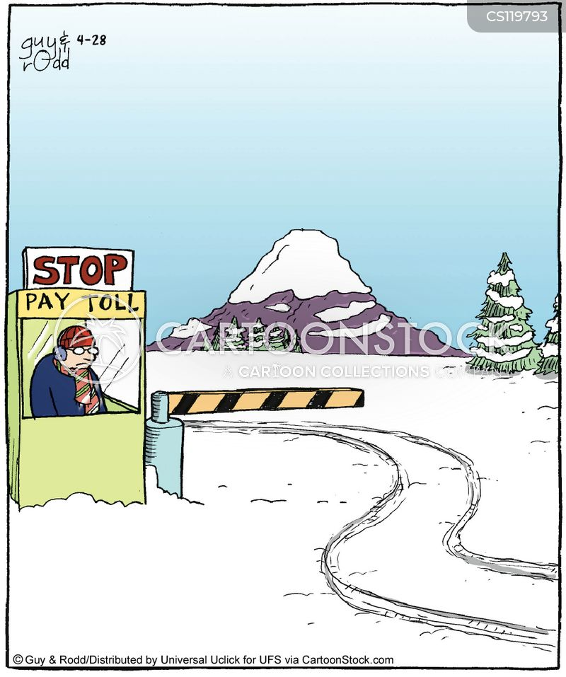 paying toll cartoon