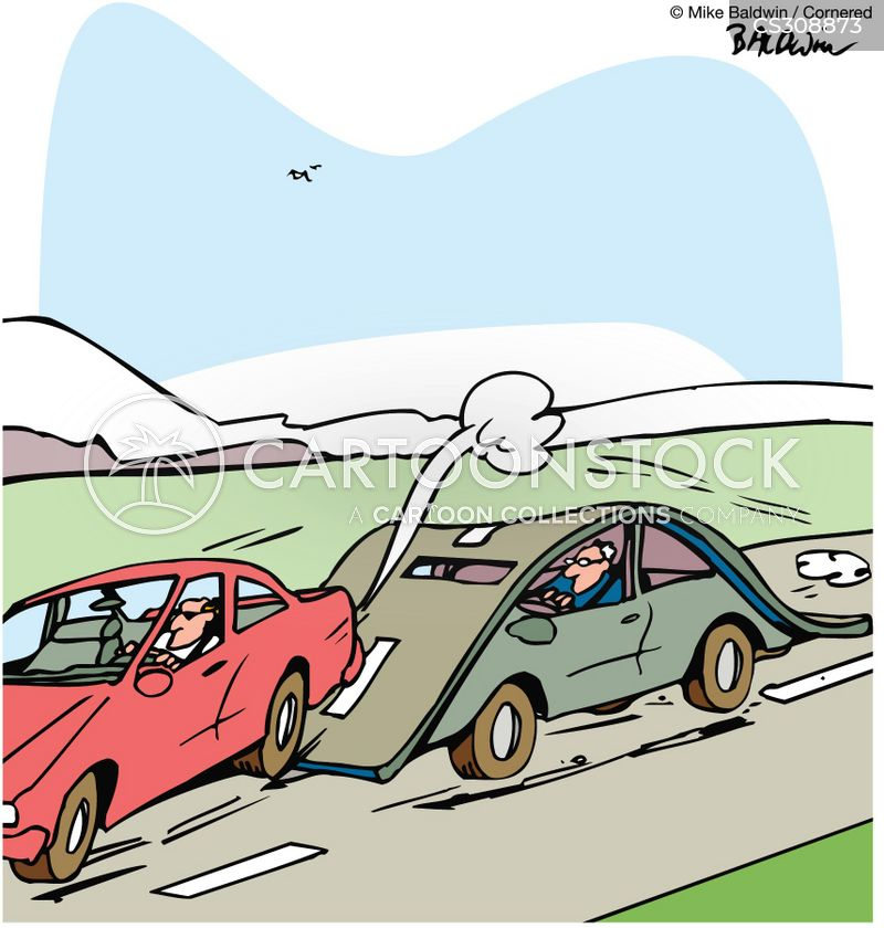 overtaking cartoon