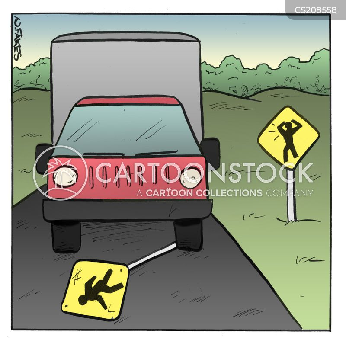 traffic collision cartoon