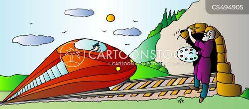 train tunnels cartoon