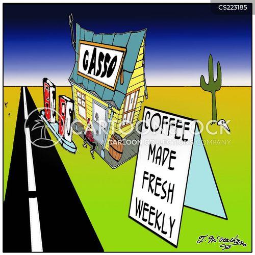 truck stops cartoon