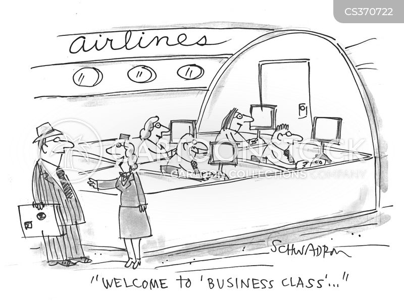 business class cartoon