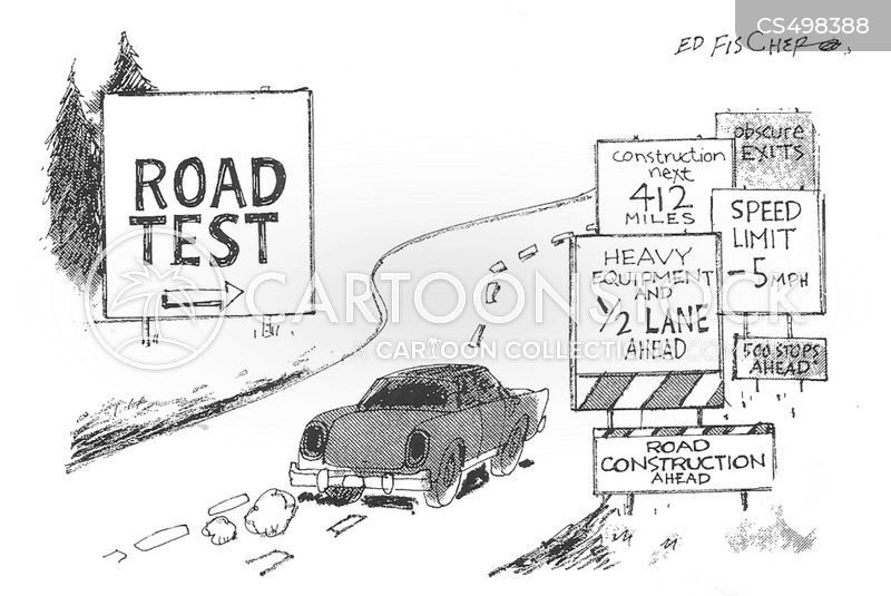 on the road cartoon