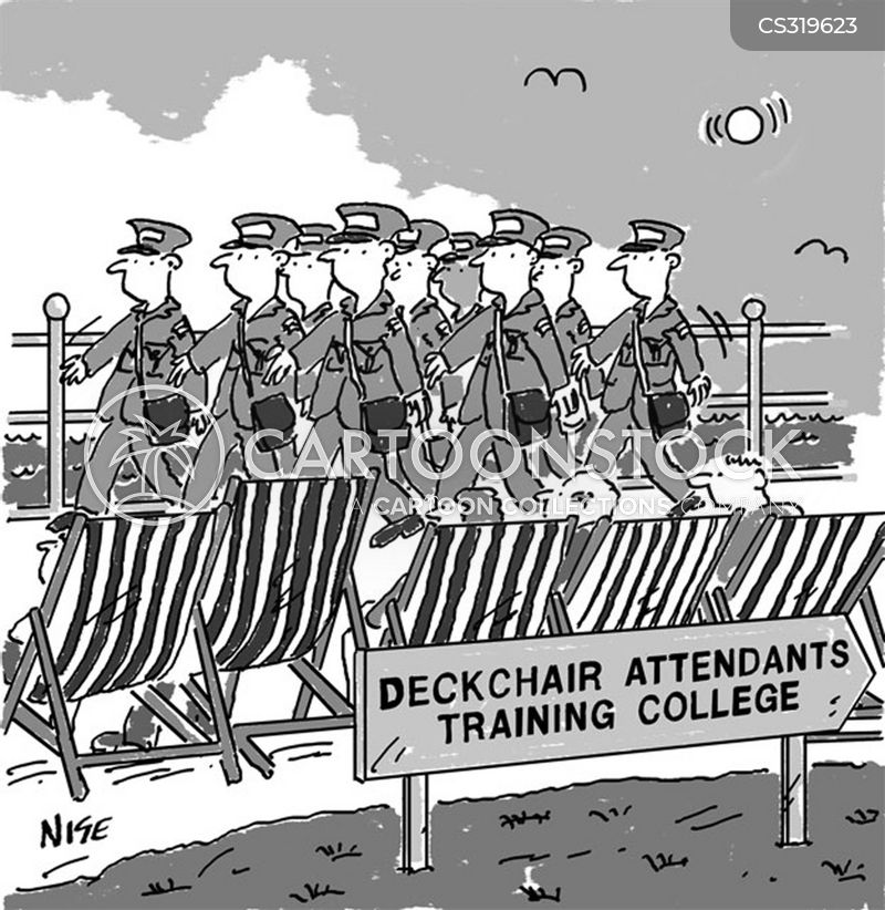 deckchair attendants cartoon