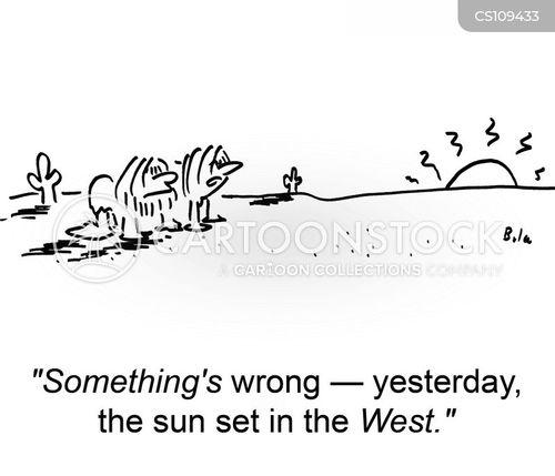 sun sets cartoon