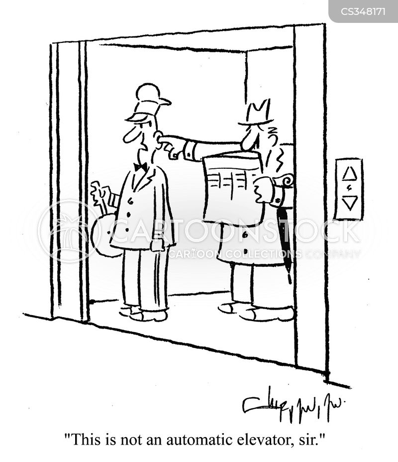 automatic elevator cartoon