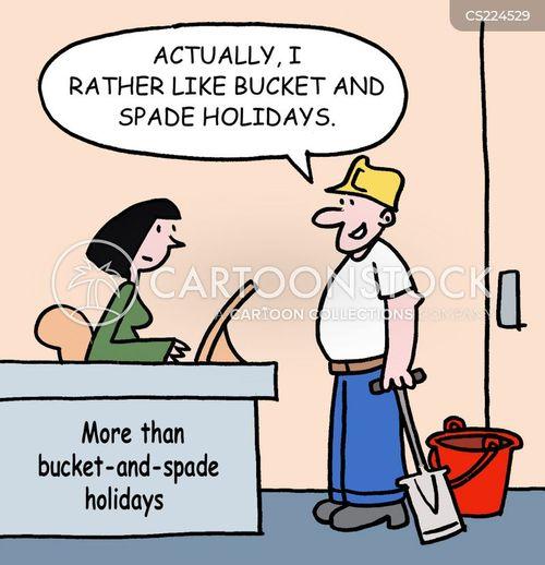 buckets and spades cartoon