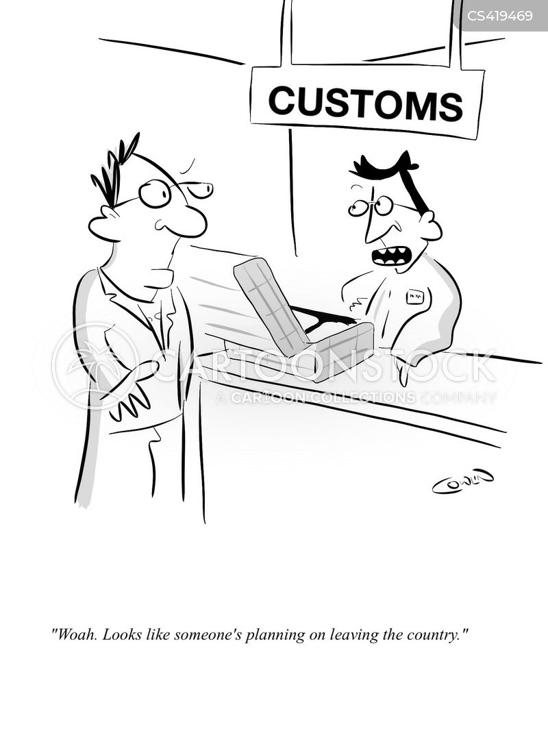 customs officers cartoon