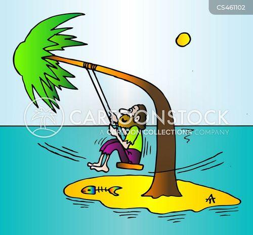 man on island cartoon