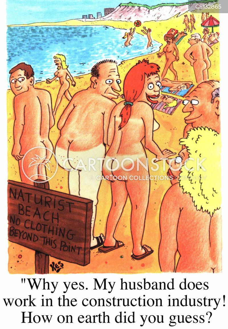 Nude comic humor beach