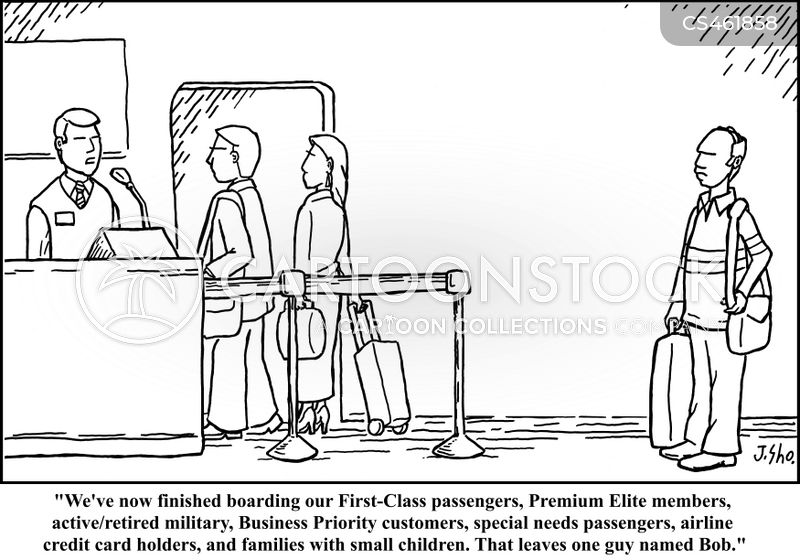 boarding procedures cartoon
