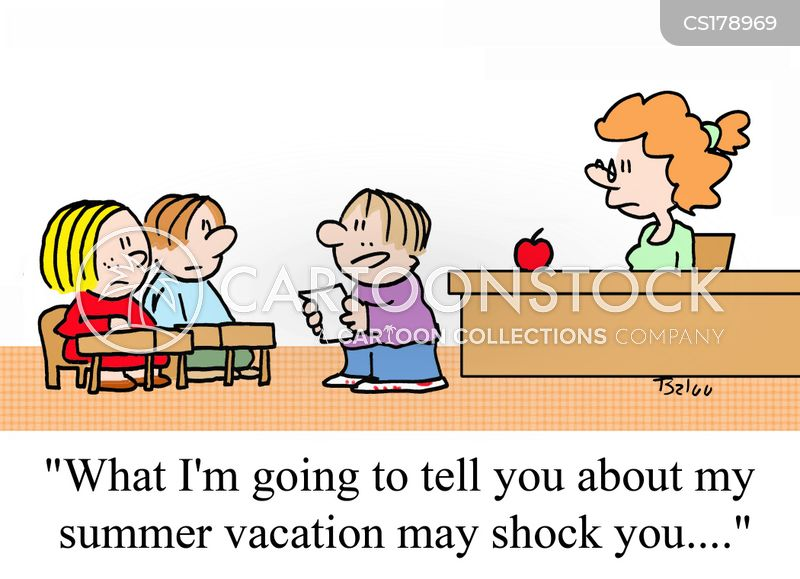 oral reports cartoons and comics funny pictures from cartoonstock  what i m going to tell you about my summer vacation shock you