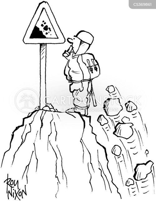 falling rock cartoon
