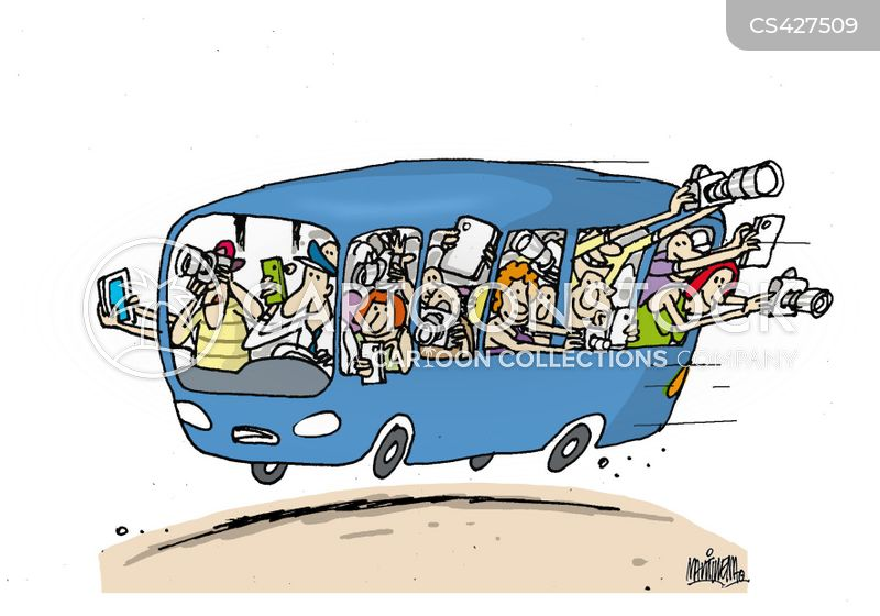 tour buses cartoon