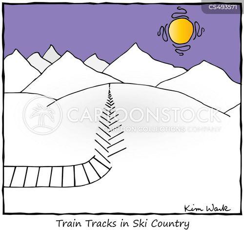 cross country skiing cartoon