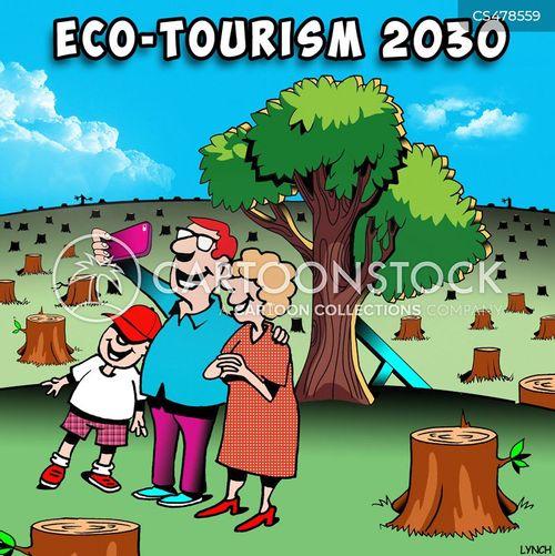 eco-tourist cartoon