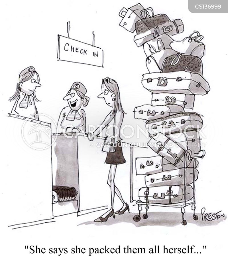 airport check-in cartoon