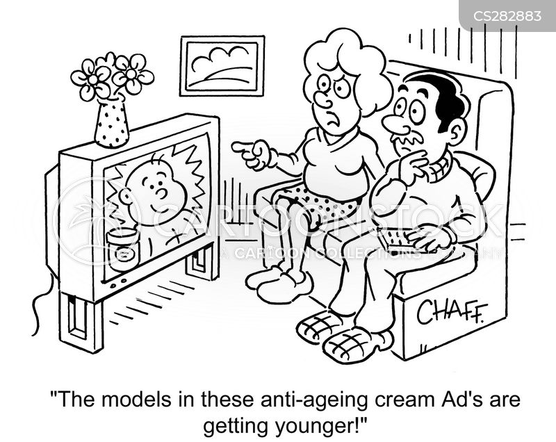 anti-ageing lotions cartoon