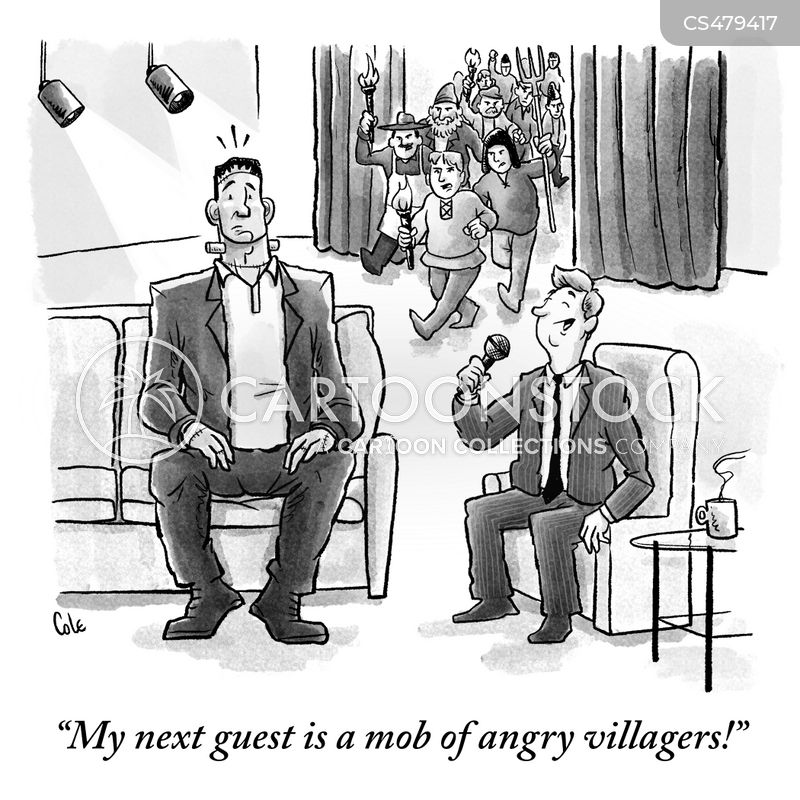 angry villagers cartoon