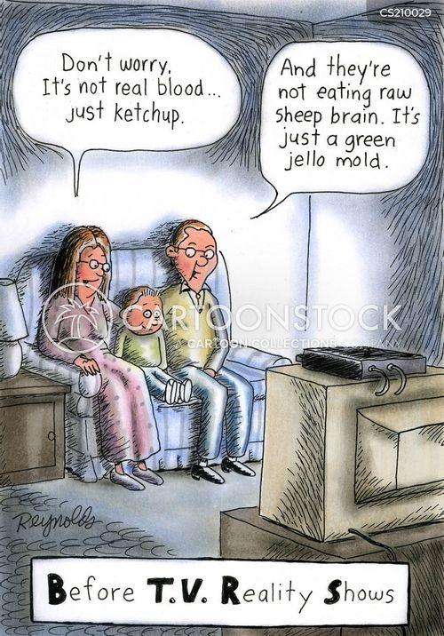 family viewing cartoon
