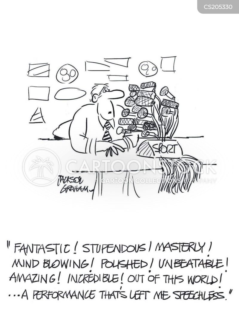 sports commentators cartoon